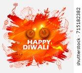 illustration of burning diya on ... | Shutterstock .eps vector #715182382