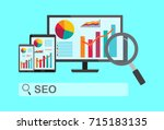 web analisis. search engine... | Shutterstock .eps vector #715183135