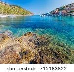 beautiful in assos in island... | Shutterstock . vector #715183822