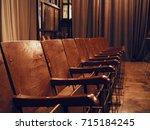 antique vintage wooden seats in ... | Shutterstock . vector #715184245