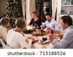 beautiful big family... | Shutterstock . vector #715188526