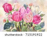 bouquet of pink roses ... | Shutterstock . vector #715191922