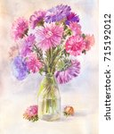 watercolor bouquet of lilac... | Shutterstock . vector #715192012