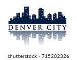 denver skyline silhouette city...   Shutterstock .eps vector #715202326