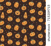 halloween pattern with carved... | Shutterstock .eps vector #715209715
