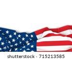 american flag on white...   Shutterstock . vector #715213585