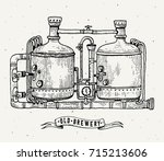 retro brewery engraving. copper ... | Shutterstock .eps vector #715213606