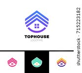 real estate house logo. top... | Shutterstock .eps vector #715223182
