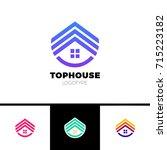 real estate house logo. top... | Shutterstock .eps vector #715223182