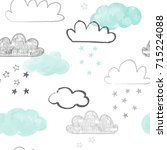 doodle clouds pattern. hand... | Shutterstock .eps vector #715224088
