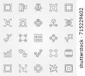 blockchain icons set. vector... | Shutterstock .eps vector #715229602