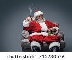 bad santa celebrating christmas ... | Shutterstock . vector #715230526