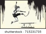athletics  long jump.from the... | Shutterstock .eps vector #715231735