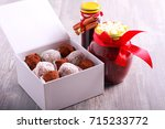 homemade edible christmas gifts ... | Shutterstock . vector #715233772