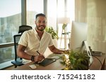 portrait of creative young man... | Shutterstock . vector #715241182