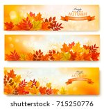 three abstract autumn banners... | Shutterstock .eps vector #715250776