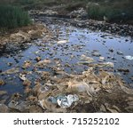 Small photo of Plastic bags floating in leachate at base of hazardous landfill site