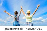 happy friends with open arms... | Shutterstock . vector #715264012
