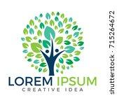 human tree logo design. healthy ... | Shutterstock .eps vector #715264672