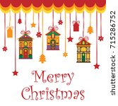 card with merry christmas text... | Shutterstock .eps vector #715286752