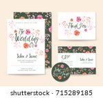 modern save the date  floral... | Shutterstock .eps vector #715289185