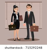 a set of business couple... | Shutterstock .eps vector #715292248