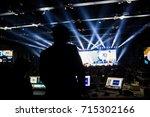 silhouette of worker control ... | Shutterstock . vector #715302166