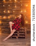 young beautiful modern... | Shutterstock . vector #715305046