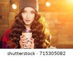 young beautiful modern... | Shutterstock . vector #715305082
