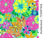 seamless pattern with colorful... | Shutterstock . vector #715307326
