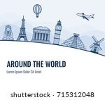 travel composition with famous... | Shutterstock .eps vector #715312048