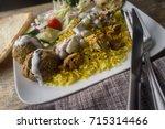nyc street style halal chicken... | Shutterstock . vector #715314466