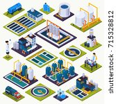water cleaning set of isometric ... | Shutterstock .eps vector #715328812