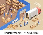 logistics and warehouse... | Shutterstock .eps vector #715330402
