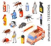 pest control service workers 3d ... | Shutterstock .eps vector #715332406