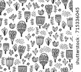 cute doodle floral seamless...   Shutterstock .eps vector #715336045