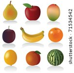 fruit set  vector illustration... | Shutterstock .eps vector #71534542