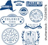 set of generic stamps and signs ... | Shutterstock .eps vector #715345876