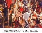merry christmas  cute festive... | Shutterstock . vector #715346236