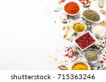 set of various spices in a... | Shutterstock . vector #715363246