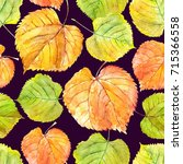 autumn watercolor floral... | Shutterstock . vector #715366558