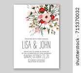 peony wedding invitation card... | Shutterstock .eps vector #715370032