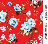 shabby chic vintage roses ... | Shutterstock .eps vector #715374106