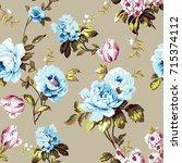shabby chic vintage roses ... | Shutterstock .eps vector #715374112