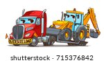 oversize load semi truck... | Shutterstock .eps vector #715376842