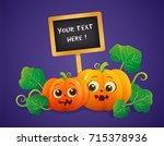 halloween pumpkins with... | Shutterstock .eps vector #715378936