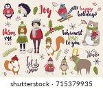 winter set  hand drawn style  ... | Shutterstock .eps vector #715379935