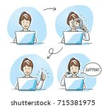 modern business woman looking... | Shutterstock .eps vector #715381975