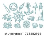 set sea adventure. anchor ... | Shutterstock .eps vector #715382998