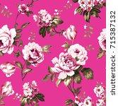 shabby chic vintage roses ... | Shutterstock .eps vector #715387132